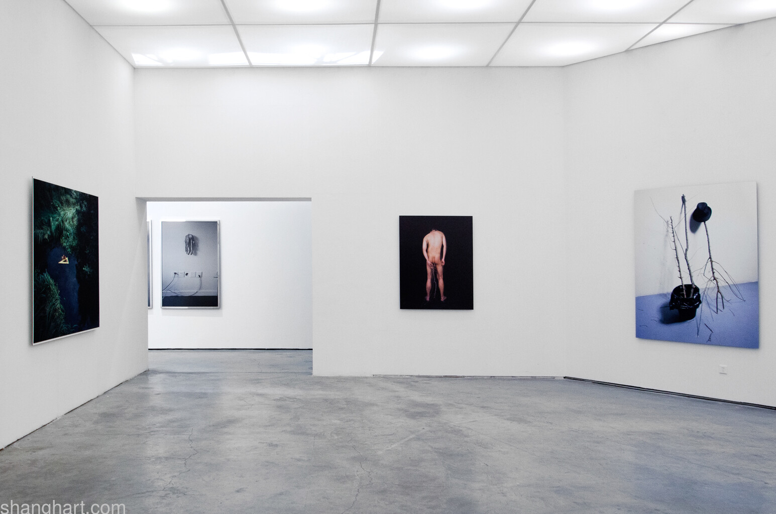 "Installation View, From Left: CHENG Xiaoyun"" Right-angle Turn"" 2009, LAING Yue""sssssss series"" 2008, CHENG Xiaoyun""'Zhuiku Tablet'series"" 2pcs 2012"