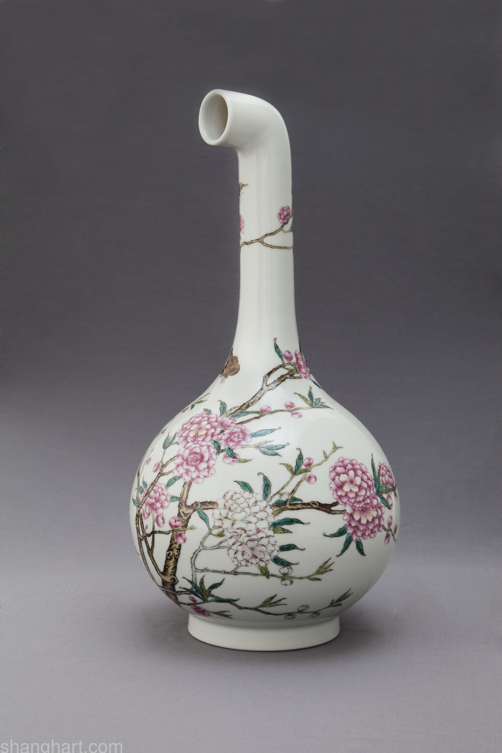 Madein curved vase famille rose vase with a straight neck and madein curved vase famille rose vase with a straight neck and peach blossom design yongzheng period qing dynasty reviewsmspy